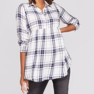 NWOT Isabel Maternity Baby Doll Plaid Top XS